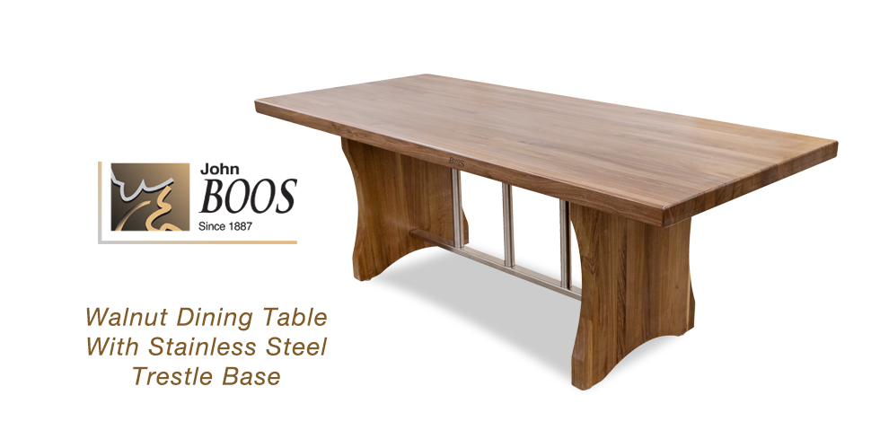 NEW John Boos Walnut Dining Table With Stainless Steel Trestle Base