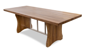 New Walnut Dining Table With Stainless Steel Trestle Base