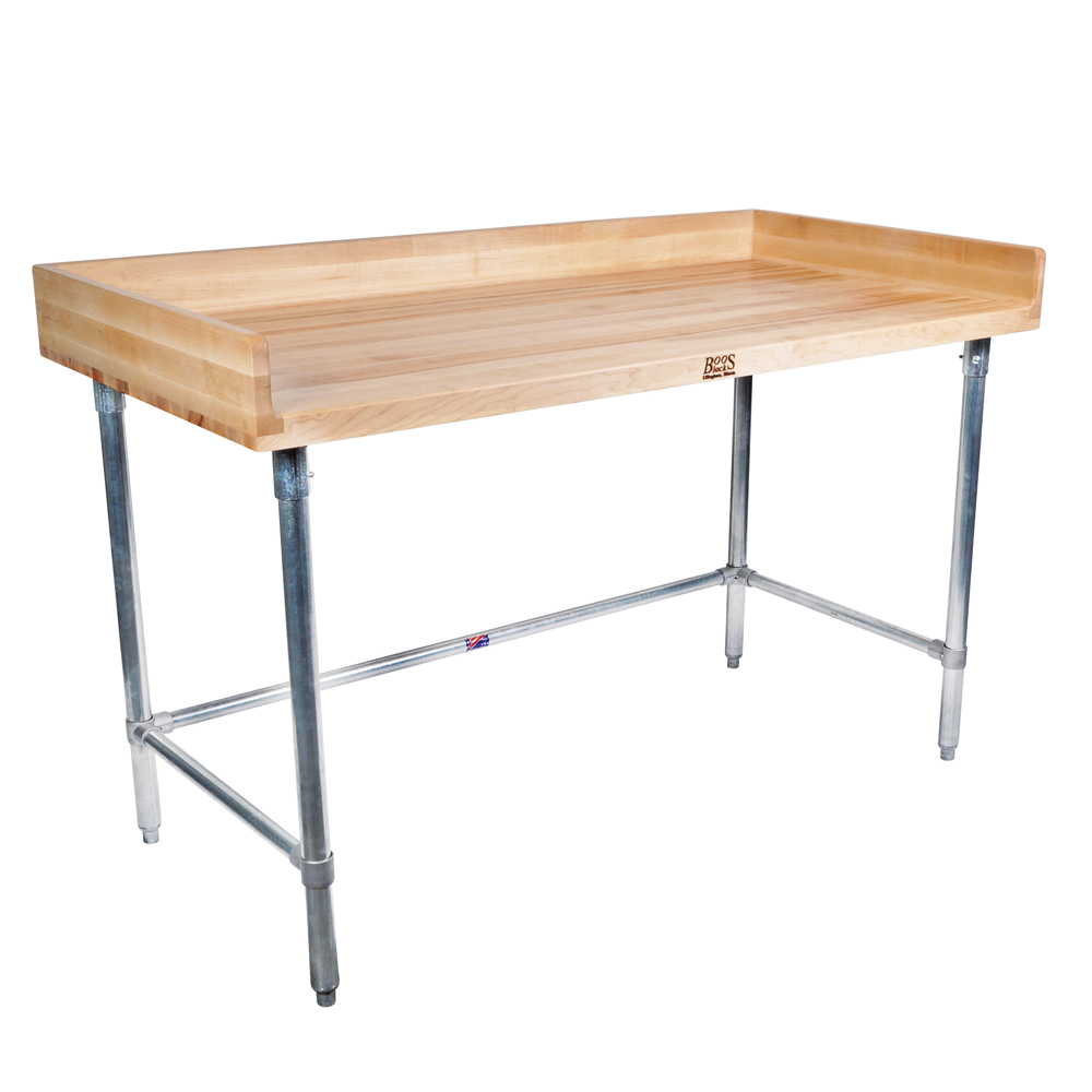 Maple Wood Top Work Table Thick Coved Riser DSB - Stainless steel open base work table